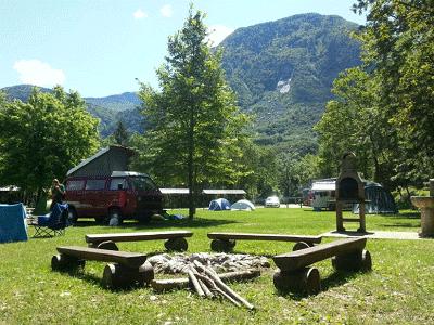 Blik op camping Vodenca