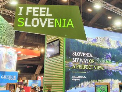 Een blik op de Sloveens stand op het vakantiesalon in Brussel
